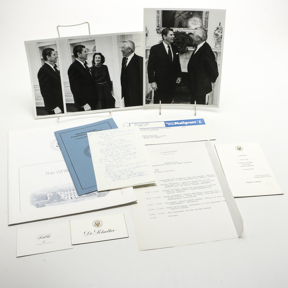 Signed Photo with President Reagan, E.  Doyle and Dr. Schuller