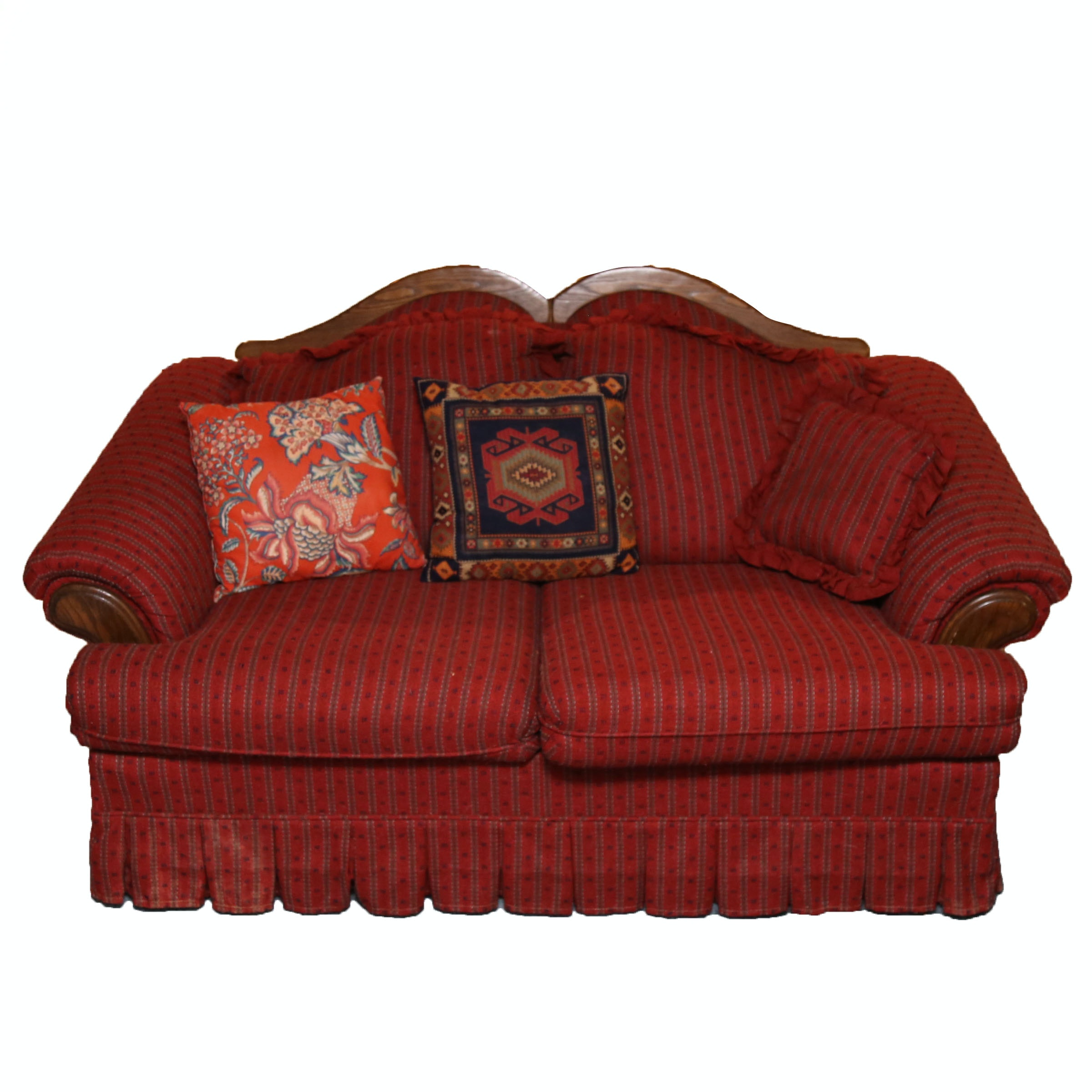 Red Striped Loveseat With Pillows by Nelson Furniture Inc.