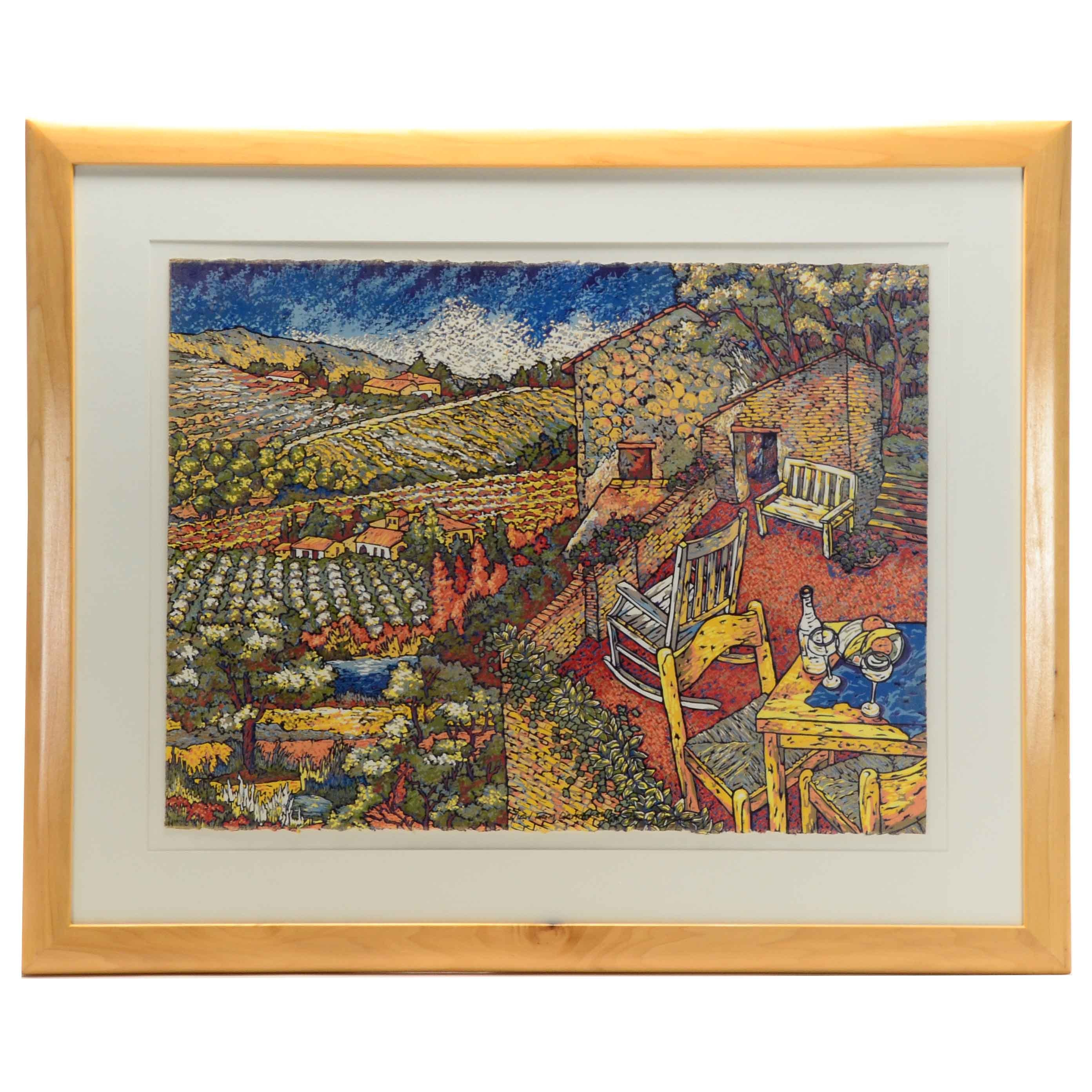 """""""View from Orvieto"""" Linocut Print By Mary Mark"""