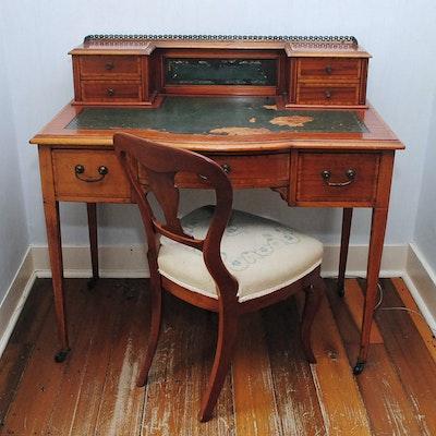 Antique Writing Desk With Chair - Vintage Desks, Antique Desks And Used Desks Auction In Art, Home