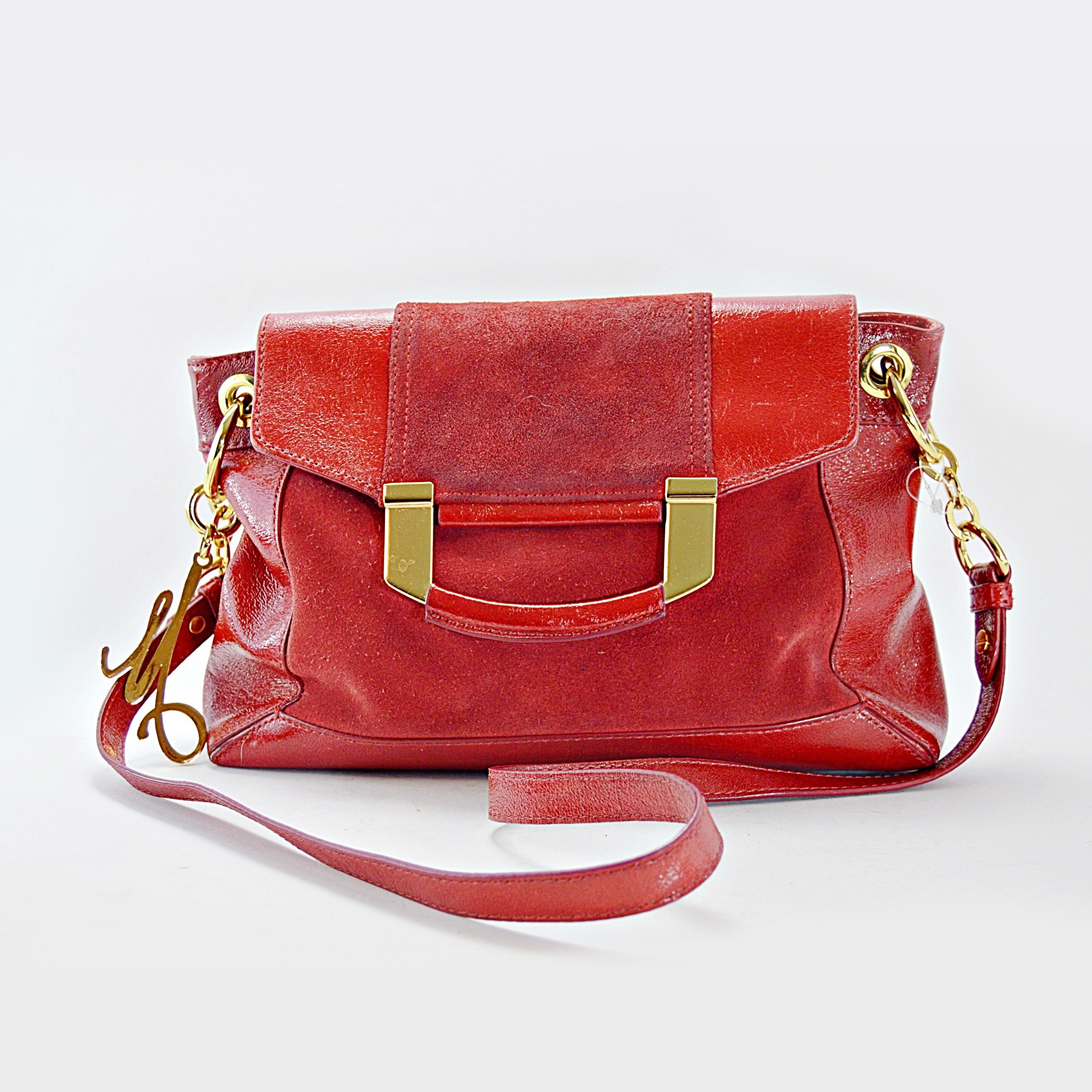 Milly Red Patent Leather and Suede Handbag