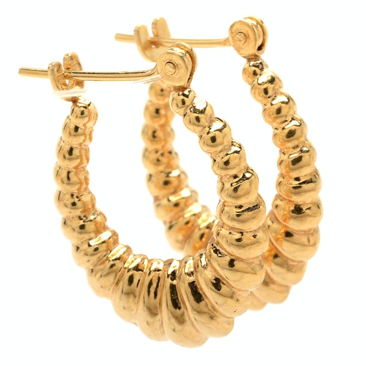 14k Yellow Gold Hollow Oval Shrimp Hoop Earrings Ebth