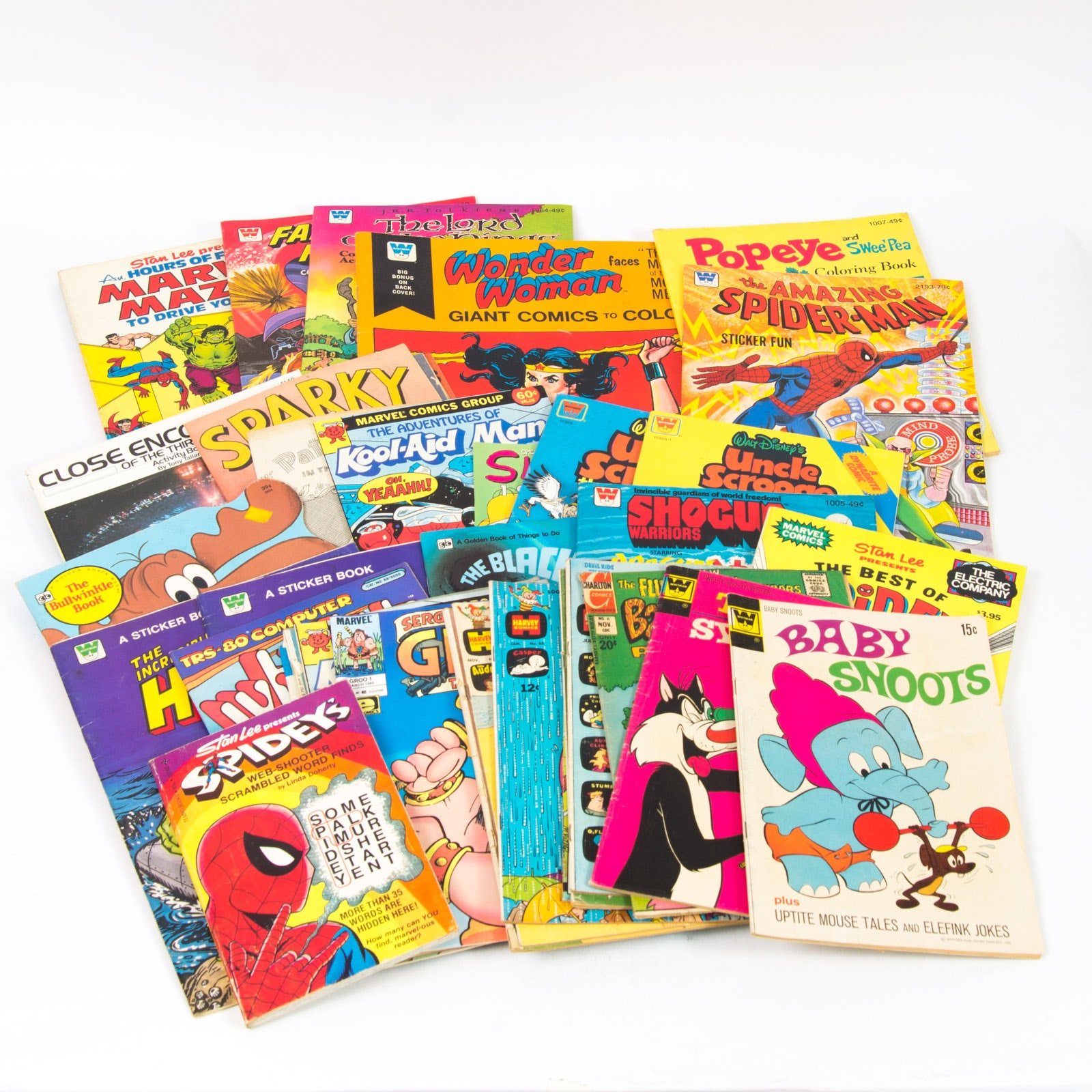 Assorted Children's Comics and Comic Book Themed Coloring Books