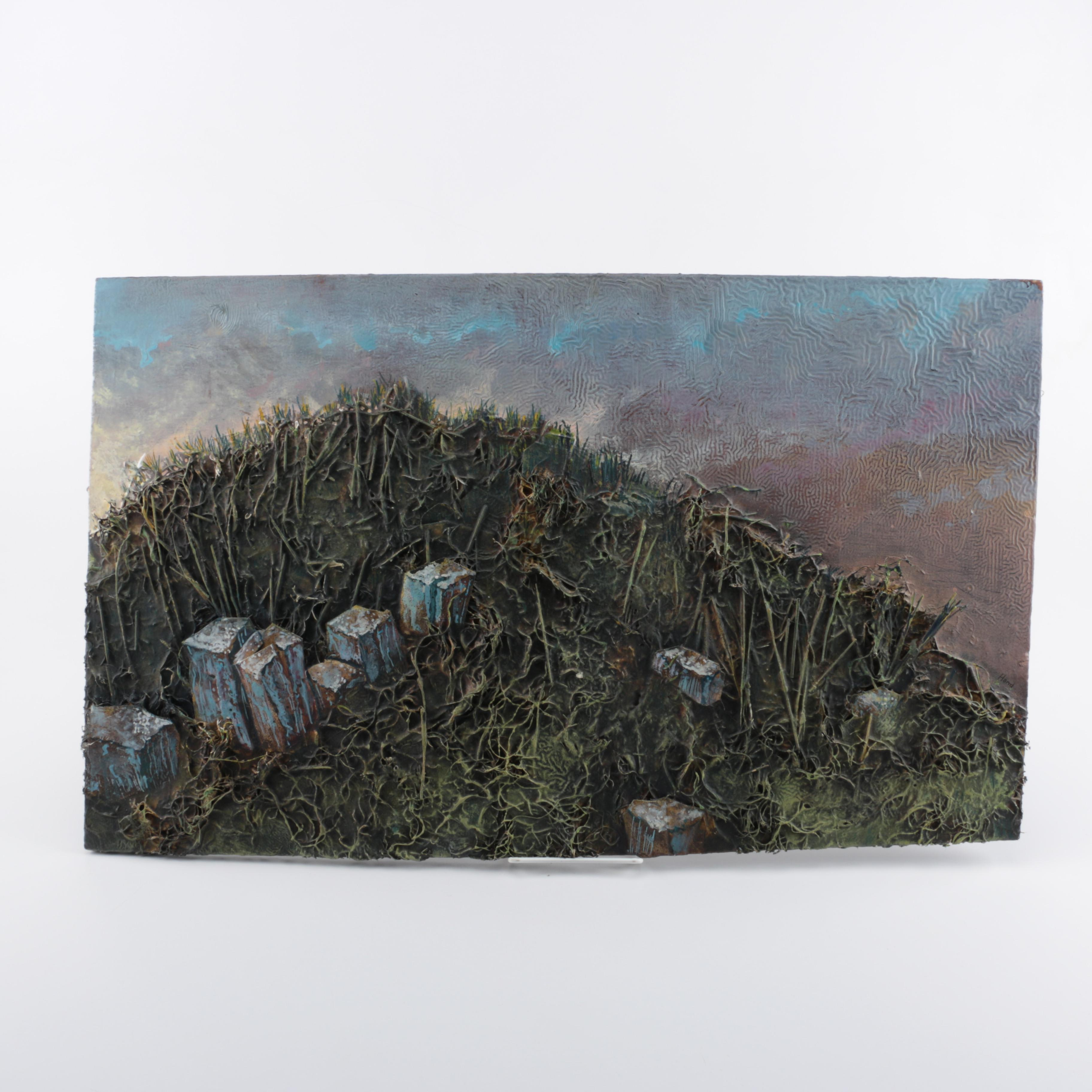 "Jon Hand Mixed Media Relief ""Ruins on a Tor"""