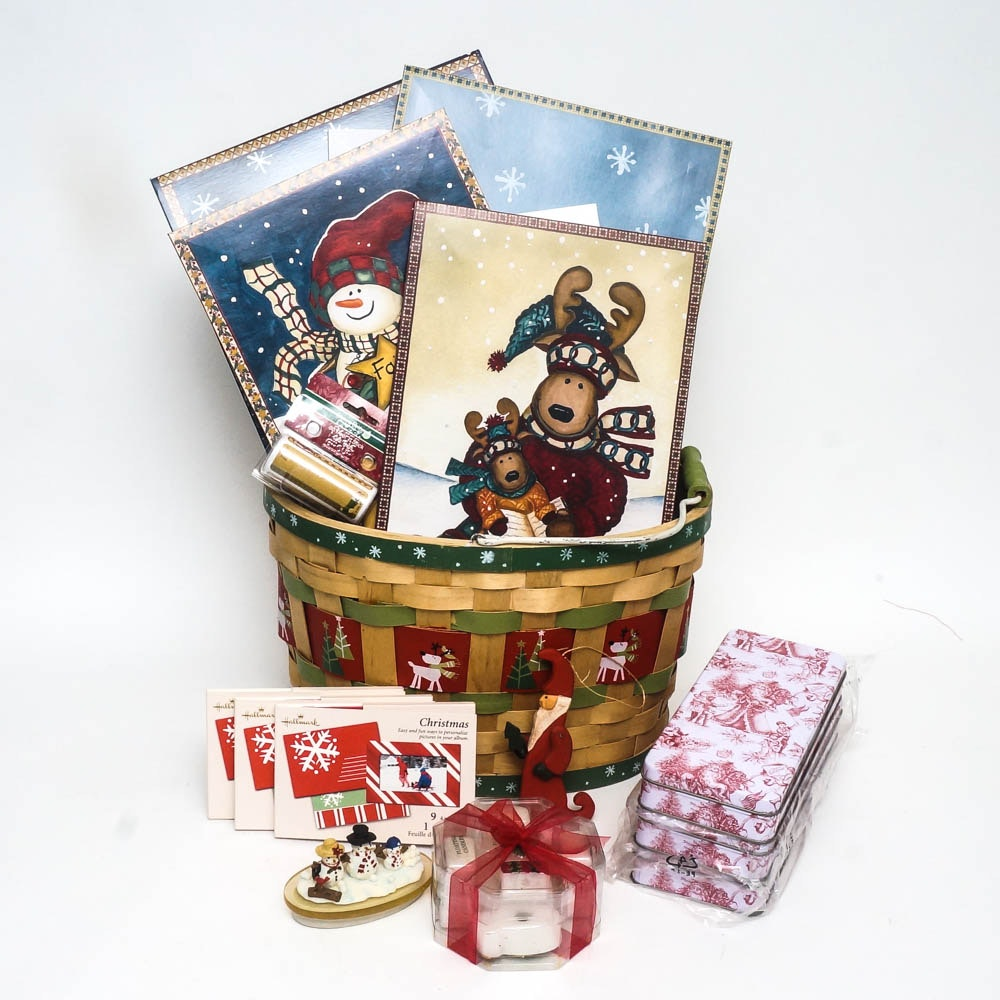 Assortment of Christmas Gift Boxes and Decor