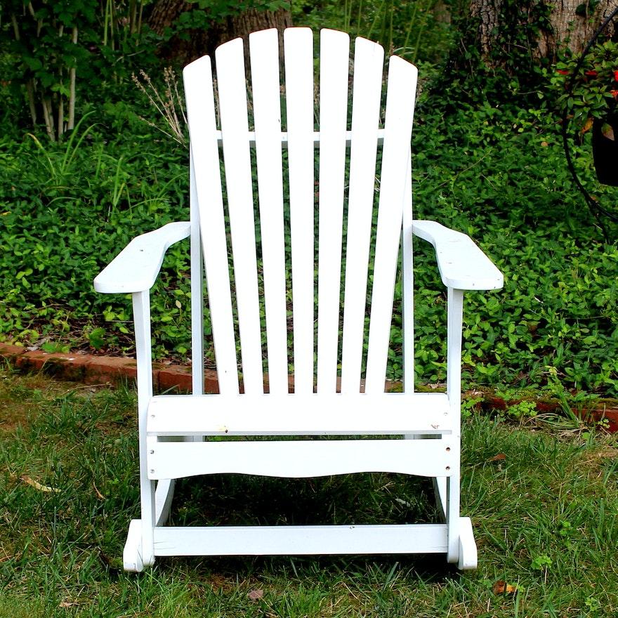White Adirondack Rocking Chair Ebth