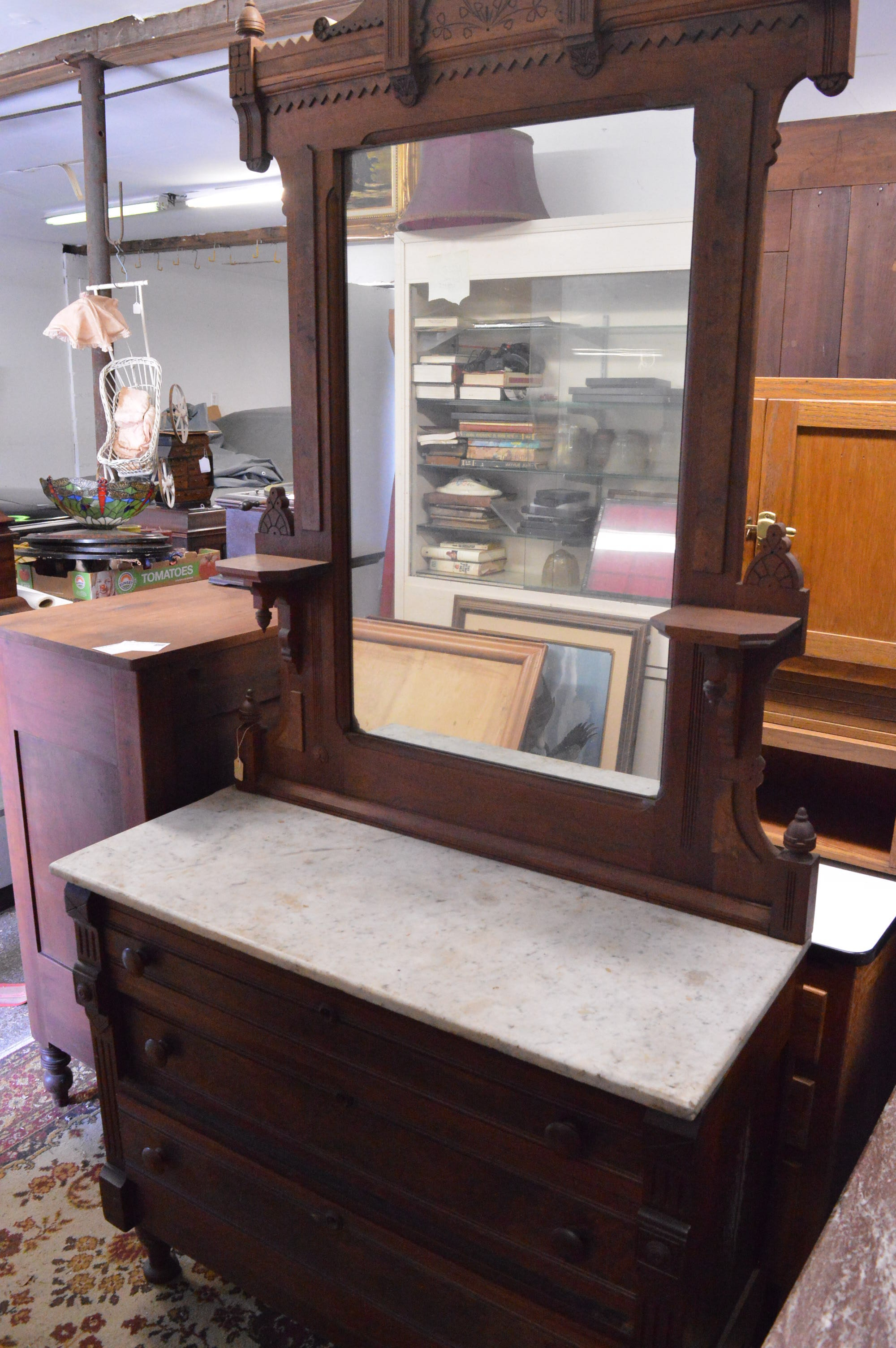 Eastlake Dresser with Mirrored Back and Marble Top