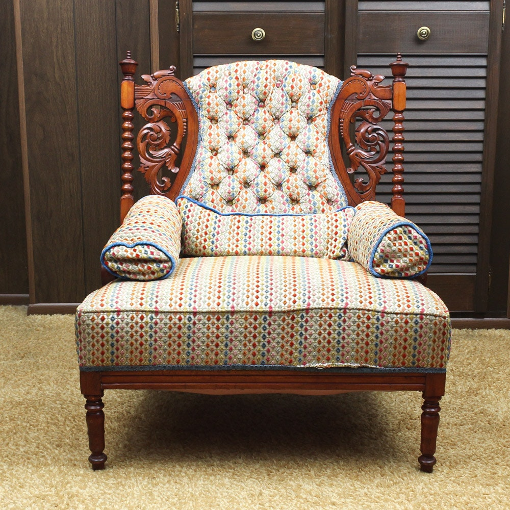 Antique Cherry Wood Parlor Chair