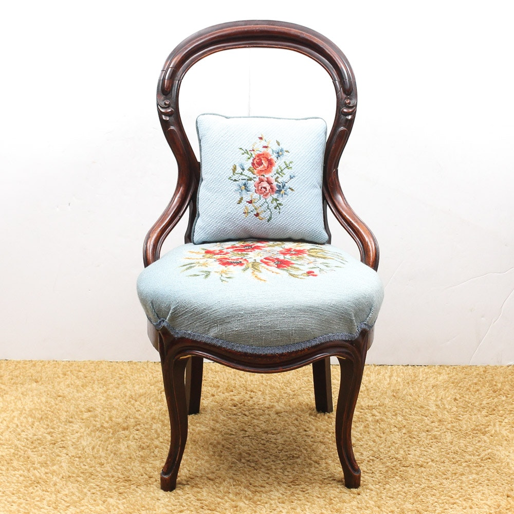 Victorian Balloon Back Chair with Needlepoint Upholstery
