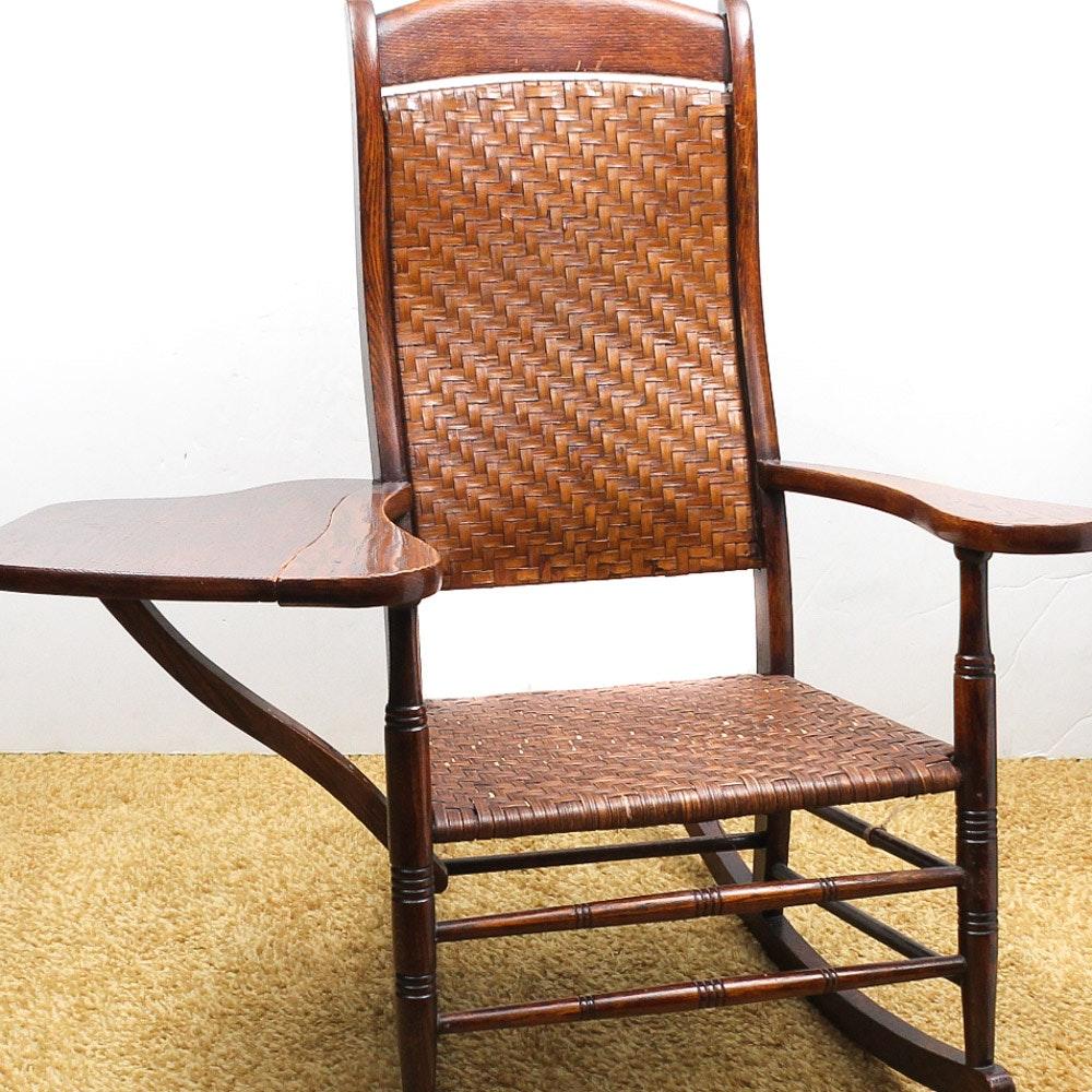 Vintage Oak Woven Rocking Chair