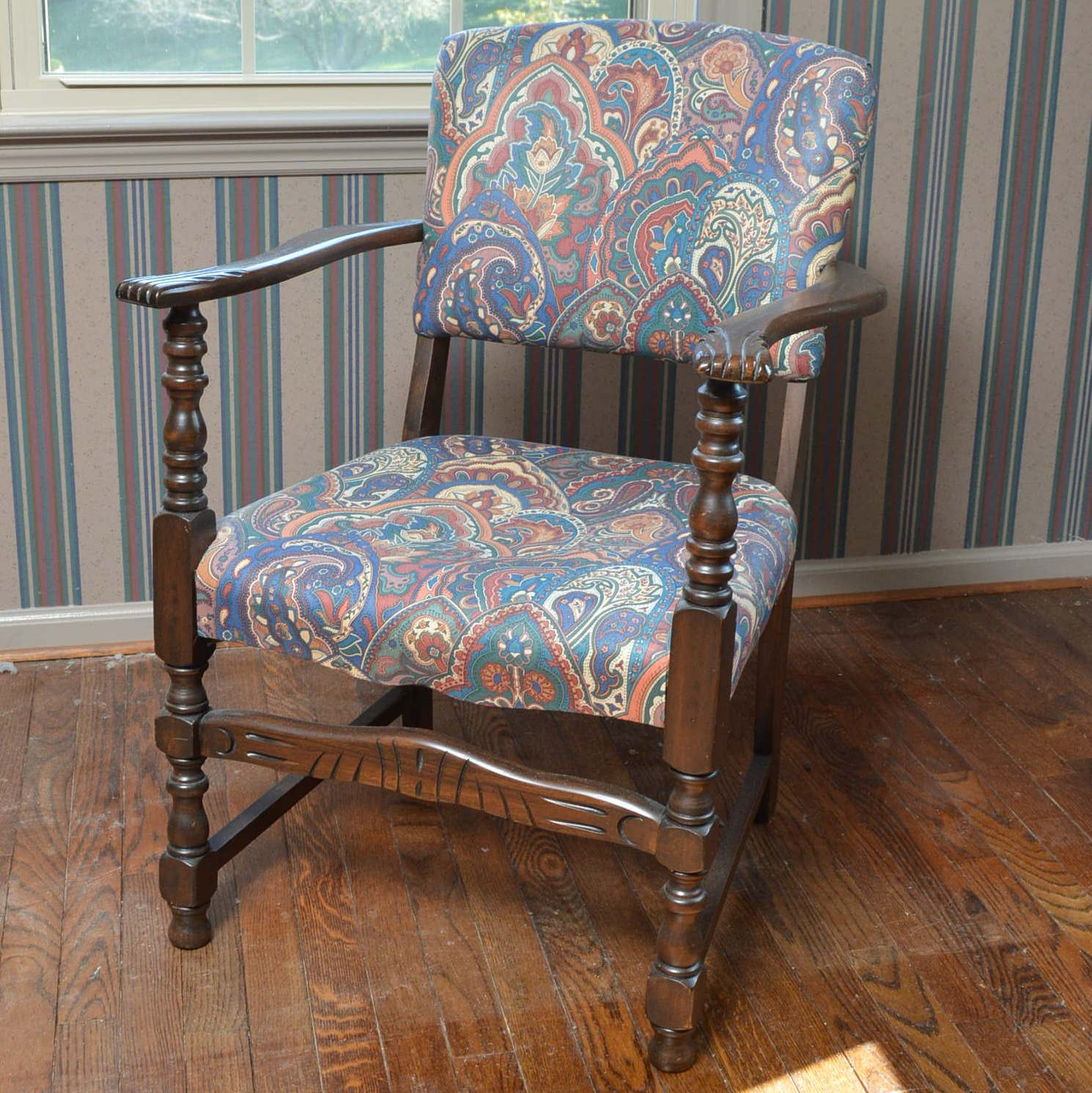 Upholstered Wooden Armchair