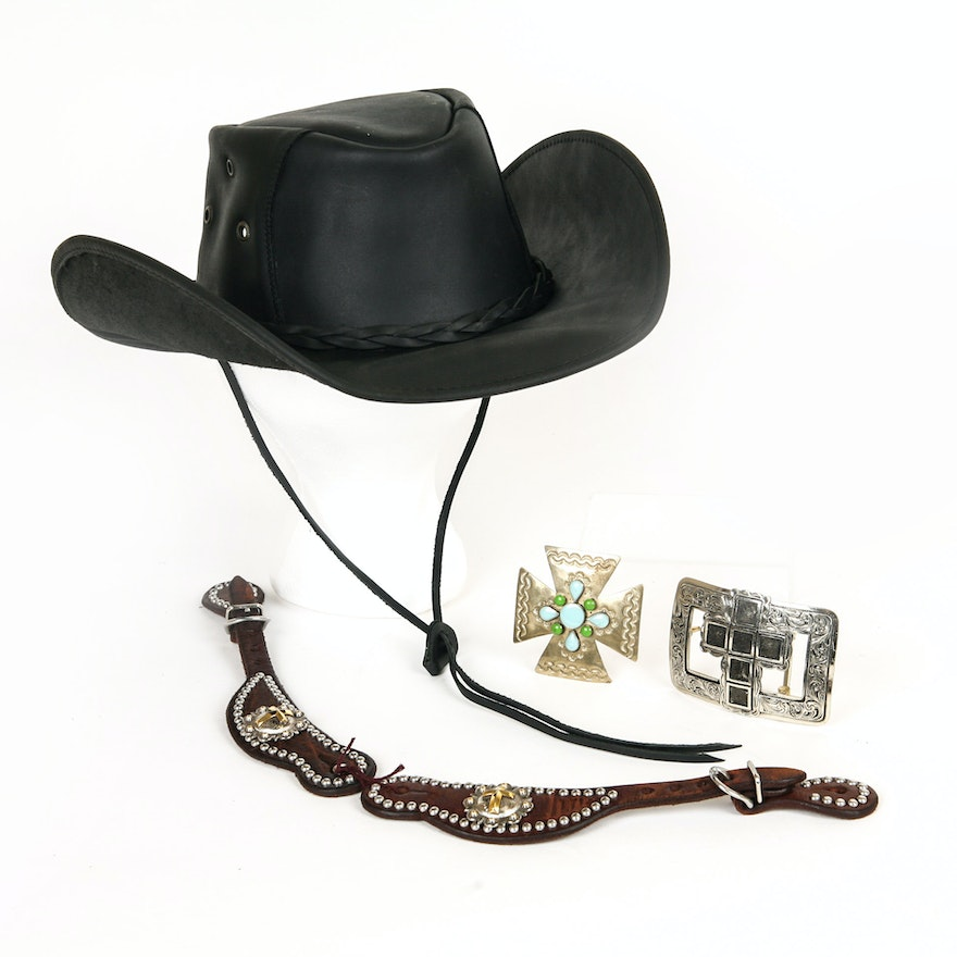 8d6c72c5380b1 Black Cavenders Leather Cowboy Hat and Augus Belt Buckles   EBTH