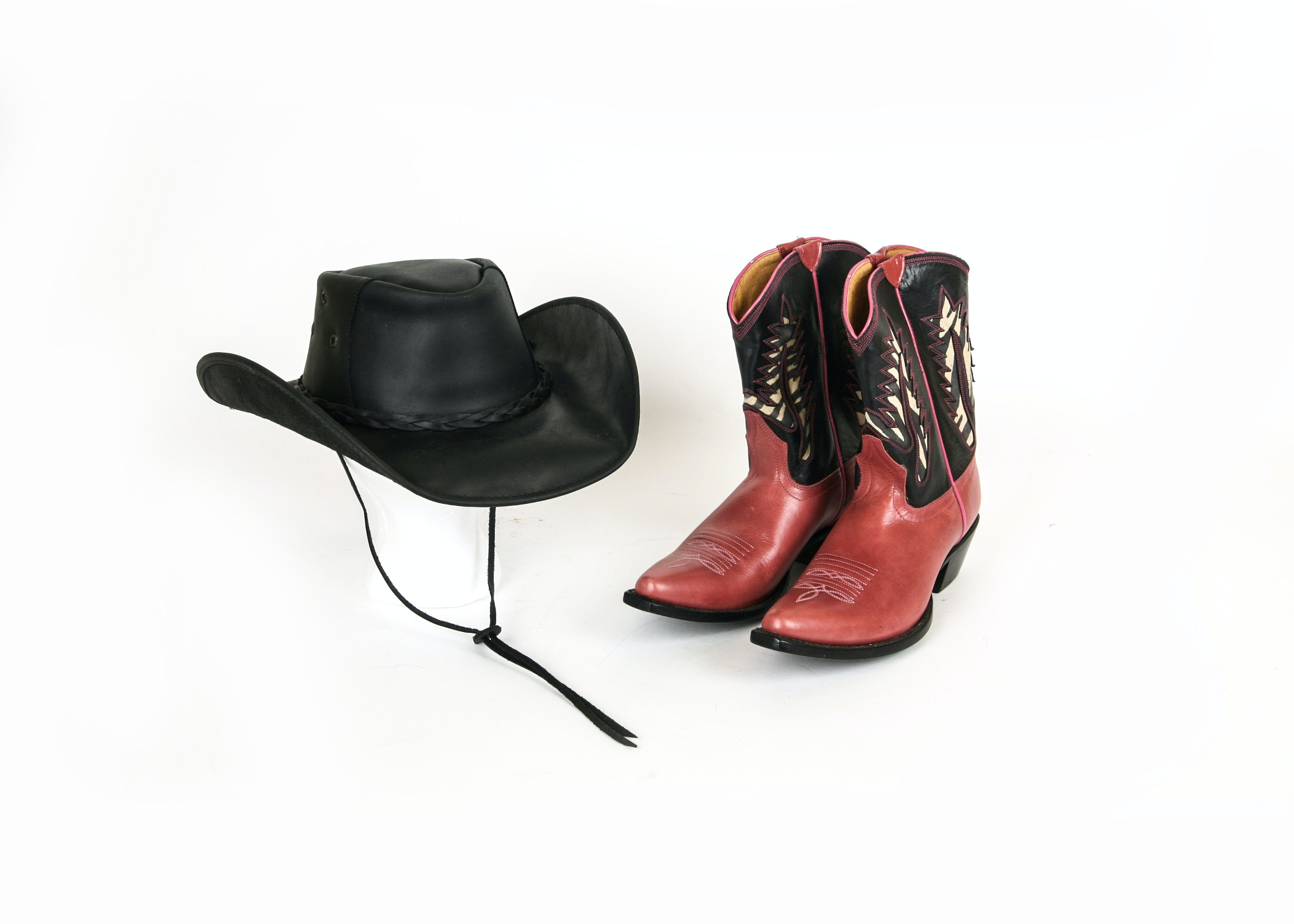 Pair of Johnny Ringo Ladies Boots and Cavender's Hat