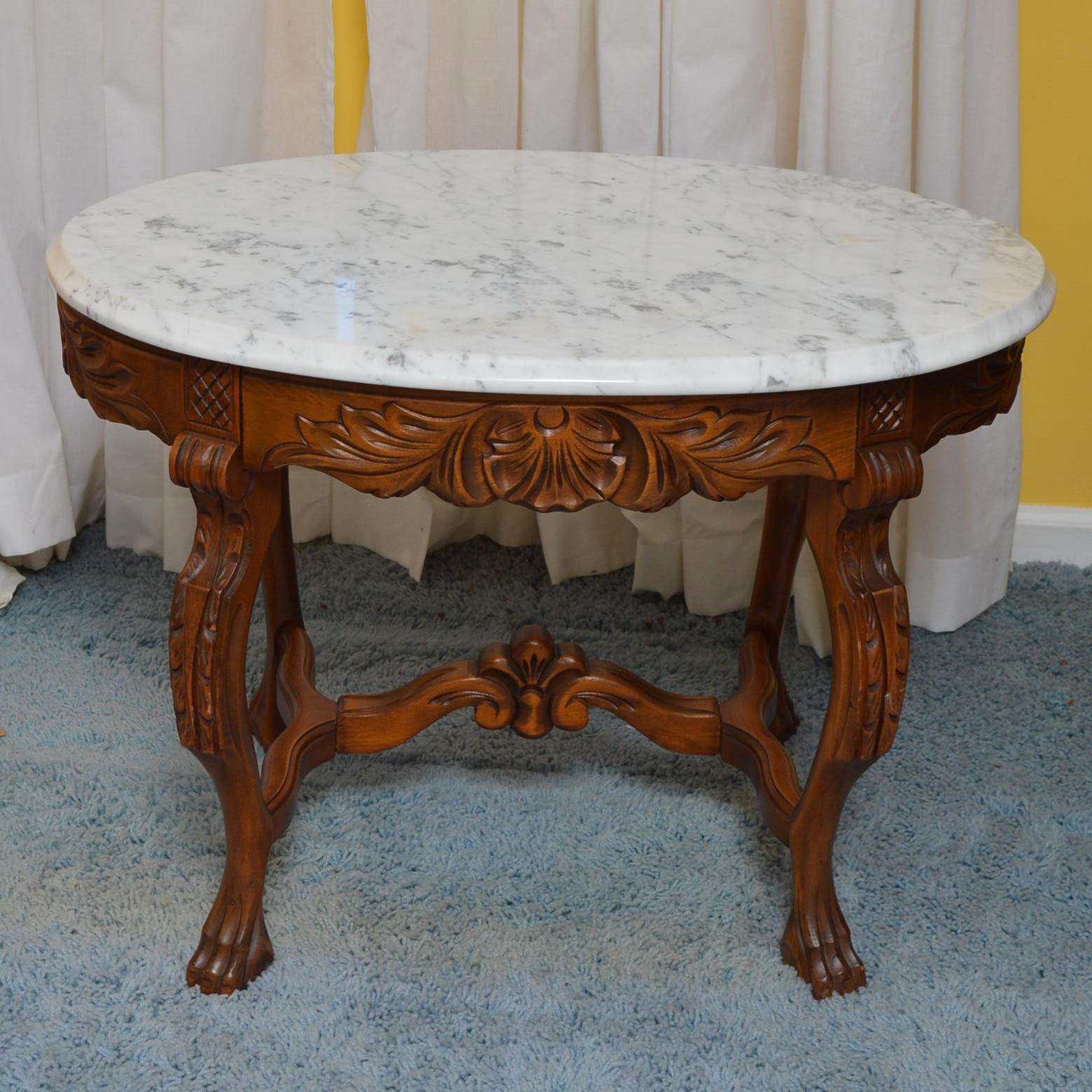 Victorian Style Marble Top Side Table