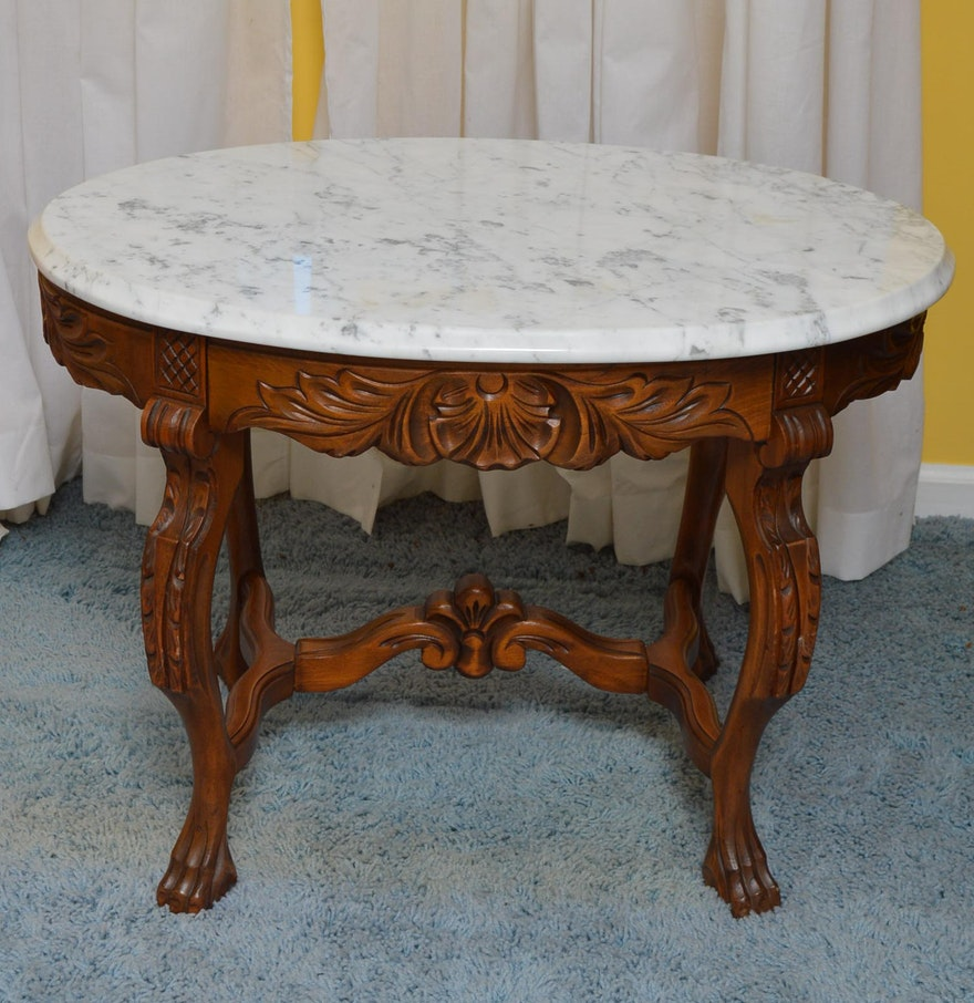 Victorian style marble top side table ebth victorian style marble top side table geotapseo Gallery