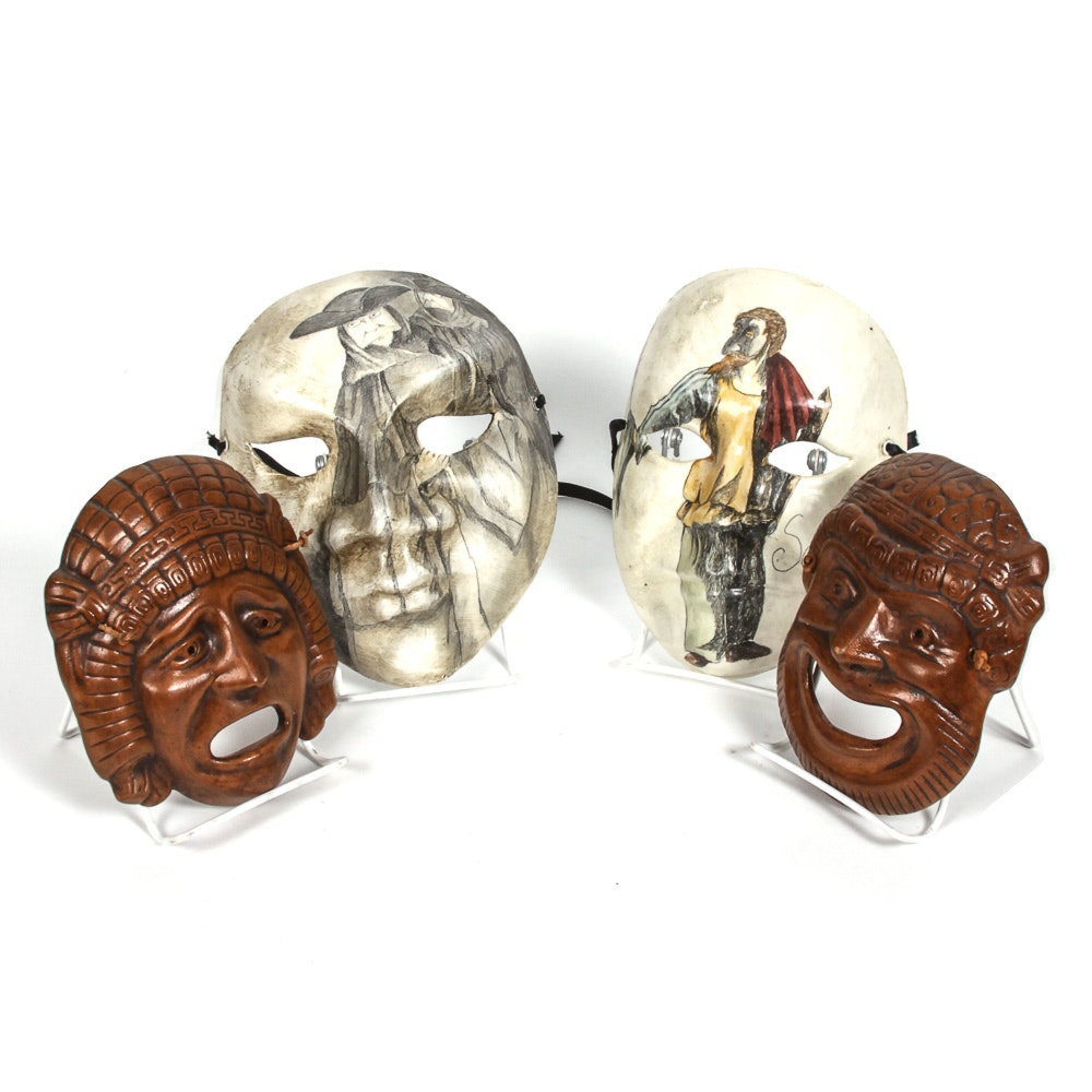 Decorative Masks Including Ceramic Greek Pairing