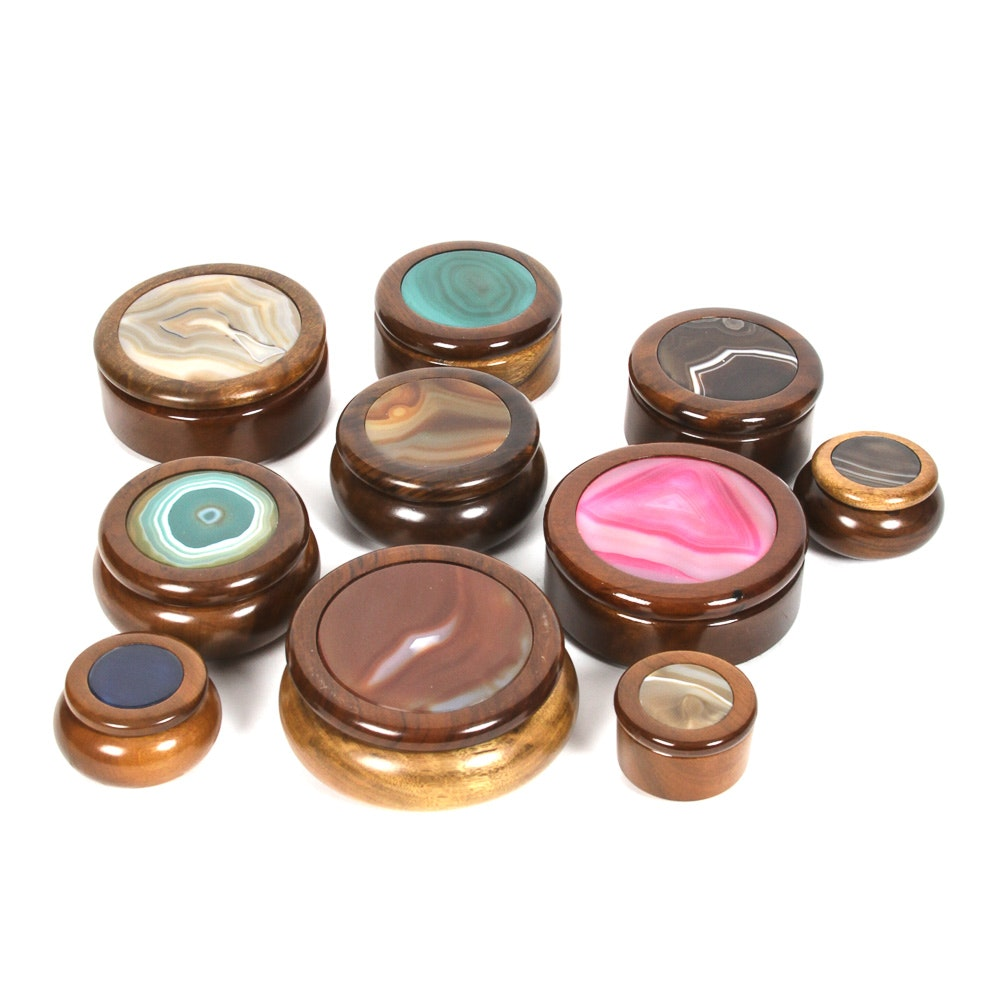 Agate Inlay Brazilian Wooden Boxes