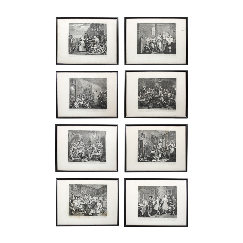 """Eight Vintage Engravings After William Hogarth's """"A Rake's Progress"""""""