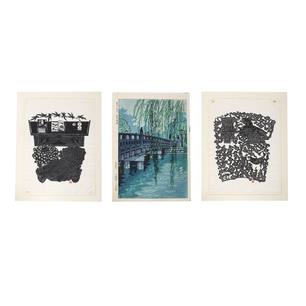 "Japanese Woodblock Prints Including Kasamatsu Shiro's ""Benkei Bashi Bridge, Akasaka"""