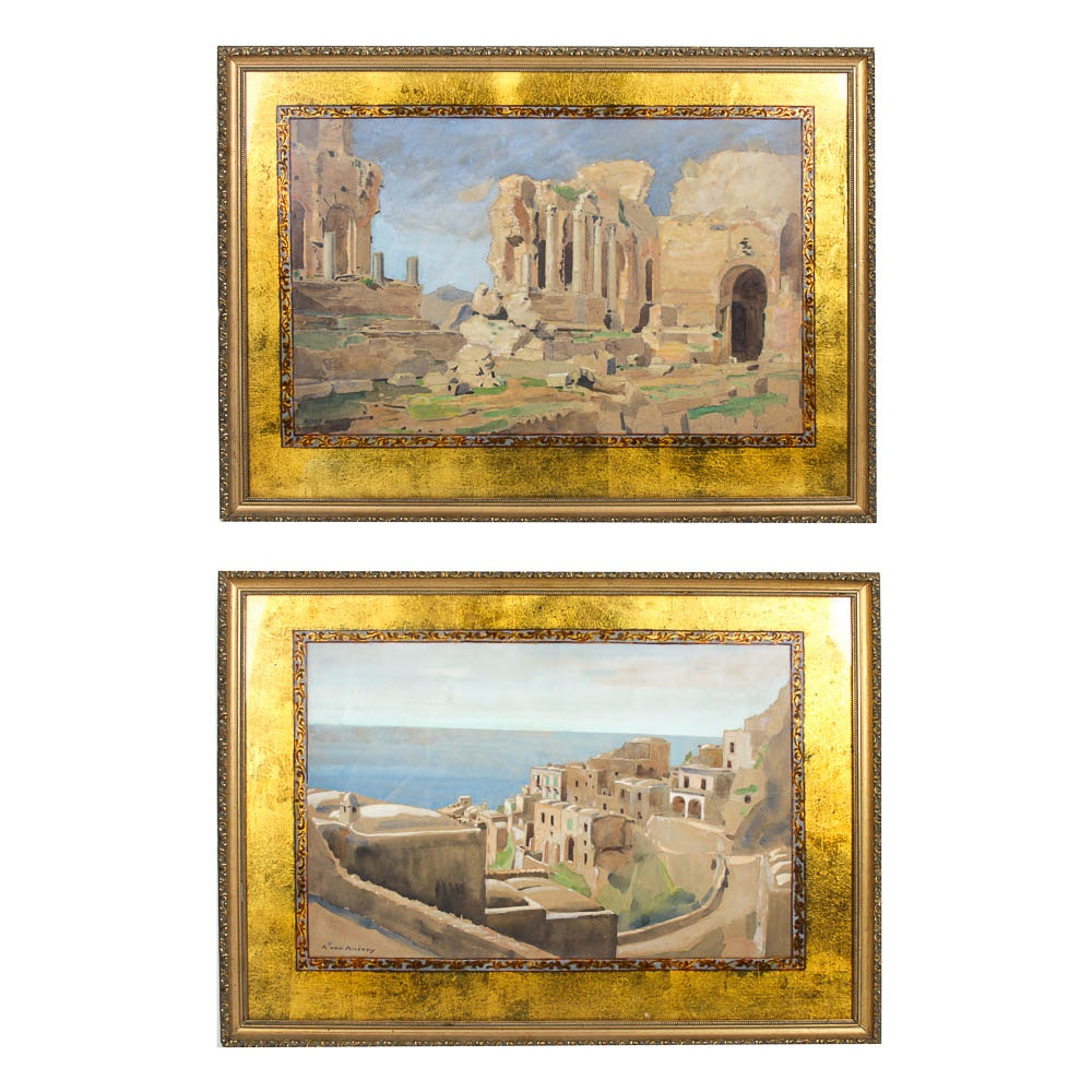 Two Avan Anrady Watercolor Paintings of Grecian Landscapes