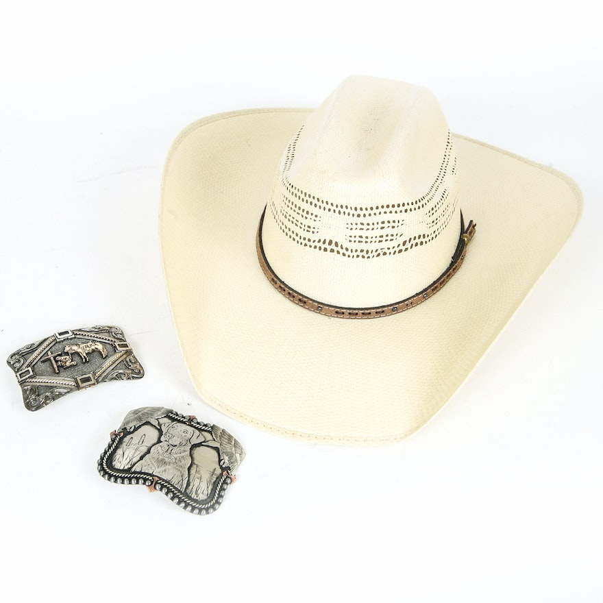 a761d71d267 Hard Form Straw Cowboy Hat by Cavender s With Pair of Belt Buckles   EBTH