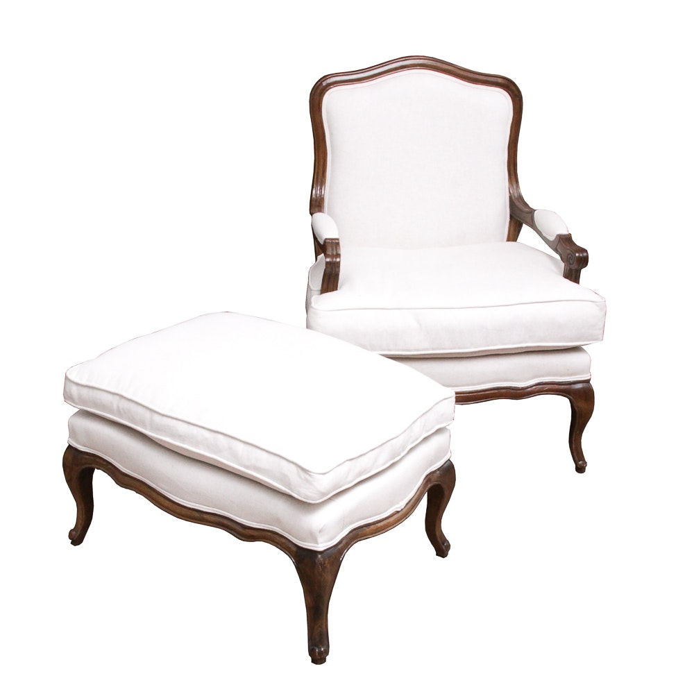 Louis XV Style Fauteuil Armchair with Footstool