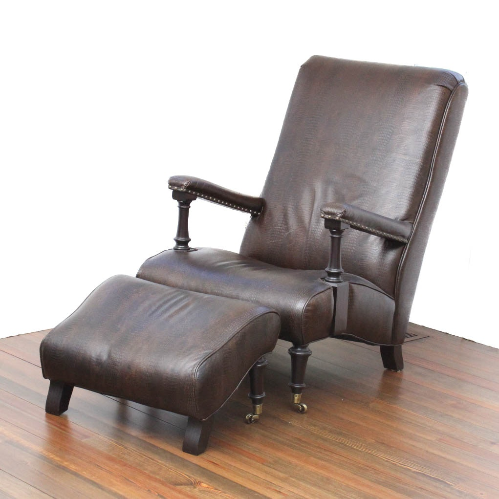 Henredon Embossed Leather Chair and Ottoman