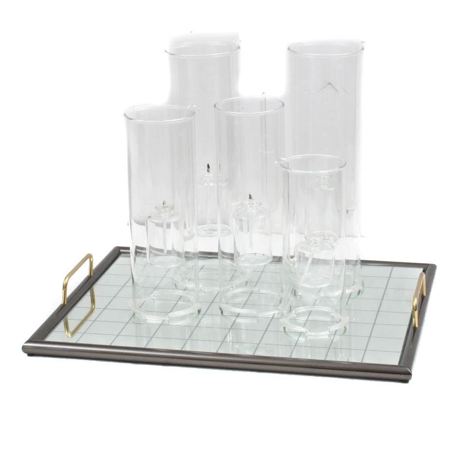Contemporary Glass Oil Candles and Mirrored Tray