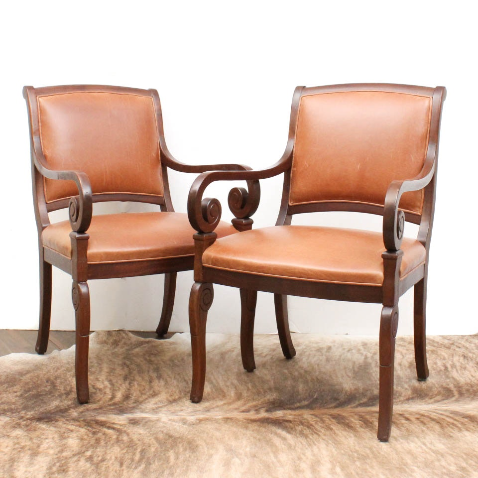 Vintage Leather Upholstered Armchairs