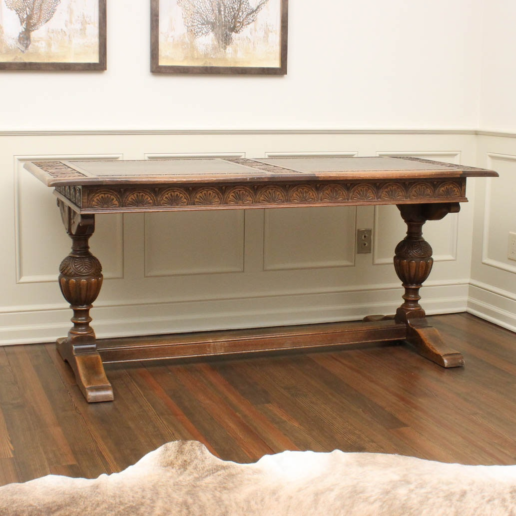 Jacobean Style Oak Desk by Kittinger