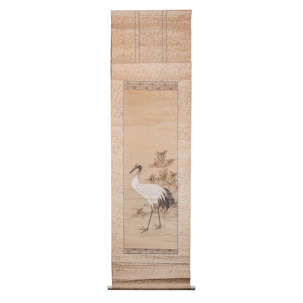 Antique East Asian Painted Hanging Scroll of a Red-Crowned Crane