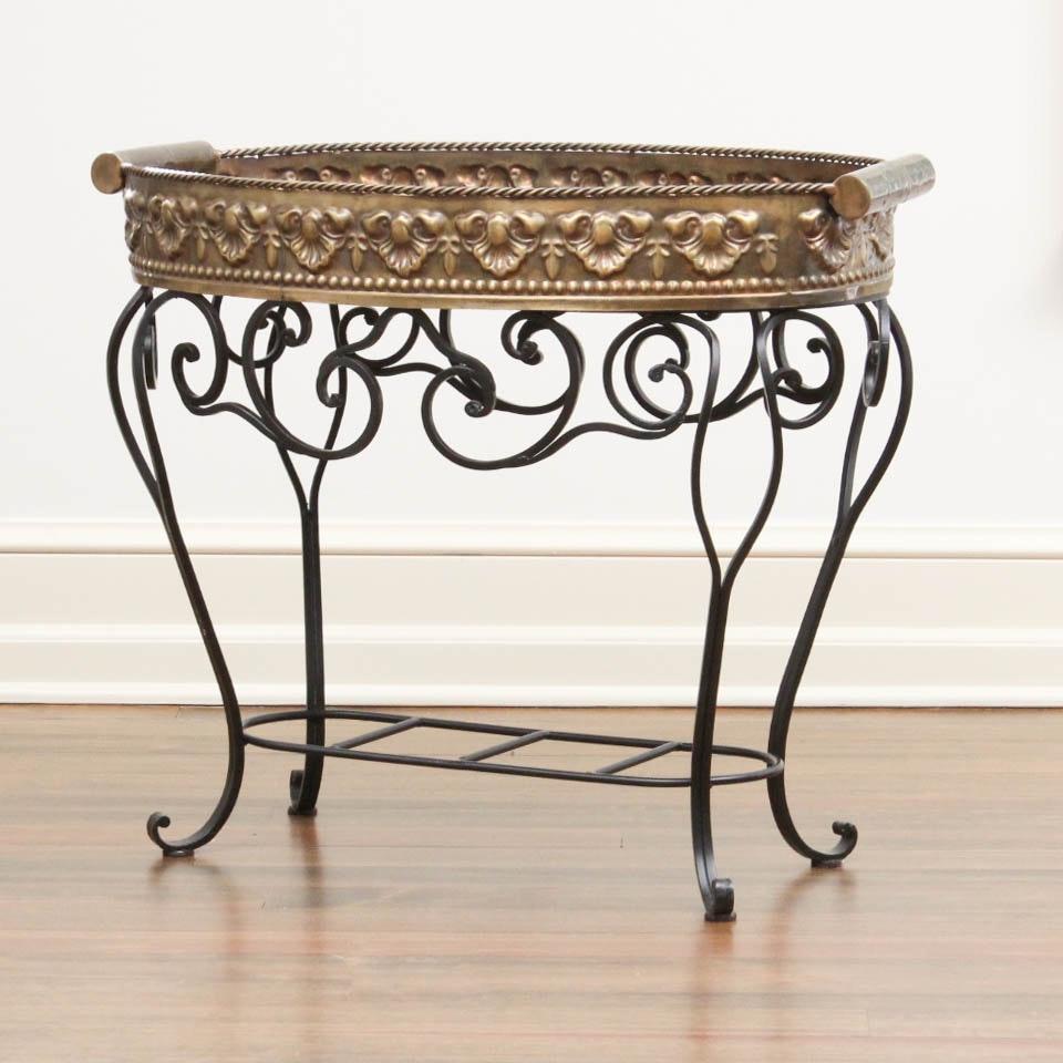 Castilian Brass Top Wrought Metal Tray Table