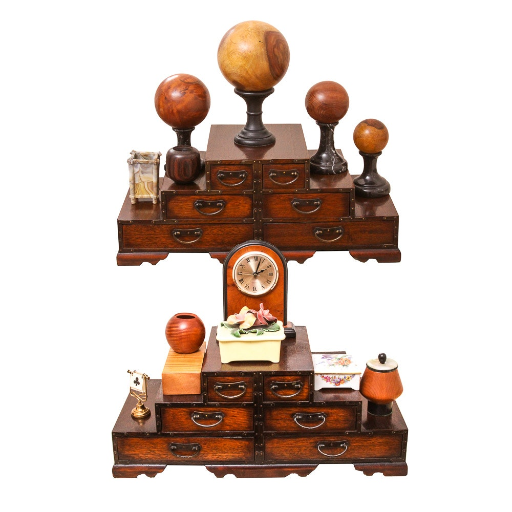 Pair of Miniature Tansu Chests and Assorted Wood Decor