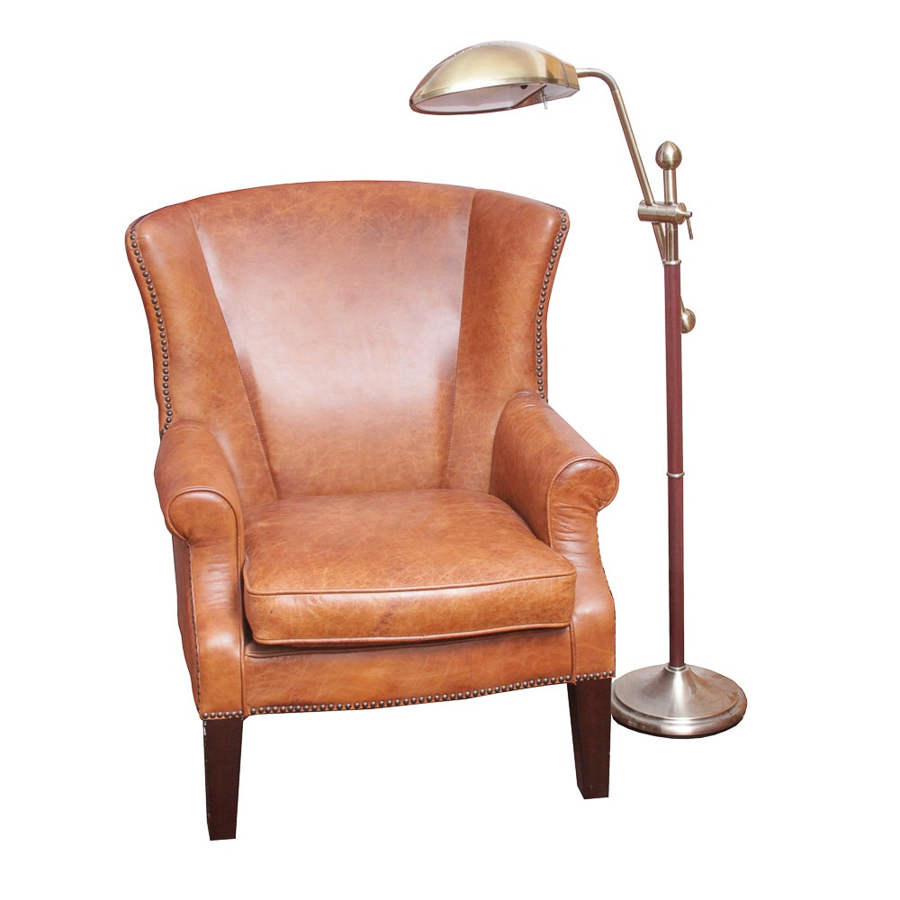 Leather Chair and Swing Arm Floor Lamp