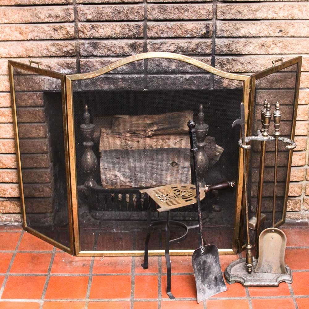 Vintage Fireplace Screen and Brass Tools