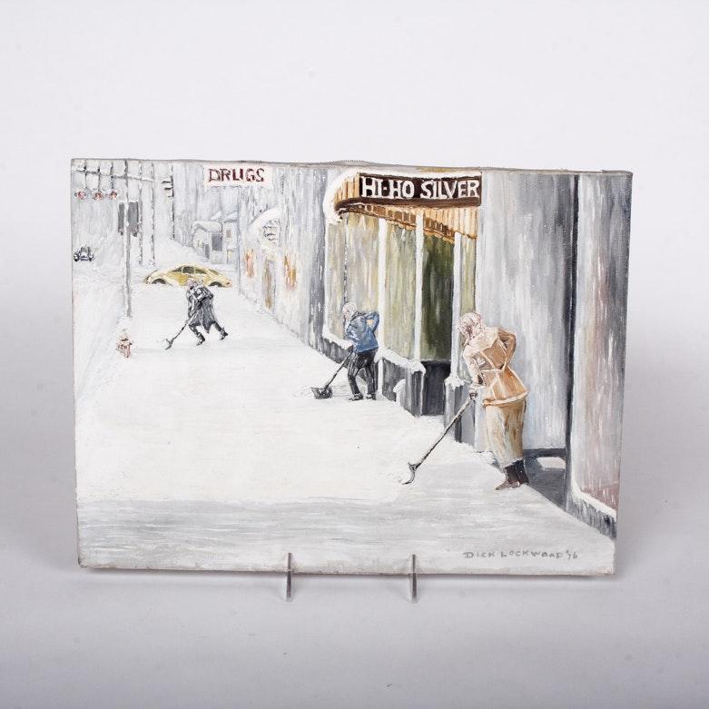 Snow Shoveling Painting Signed Dick Lockwood