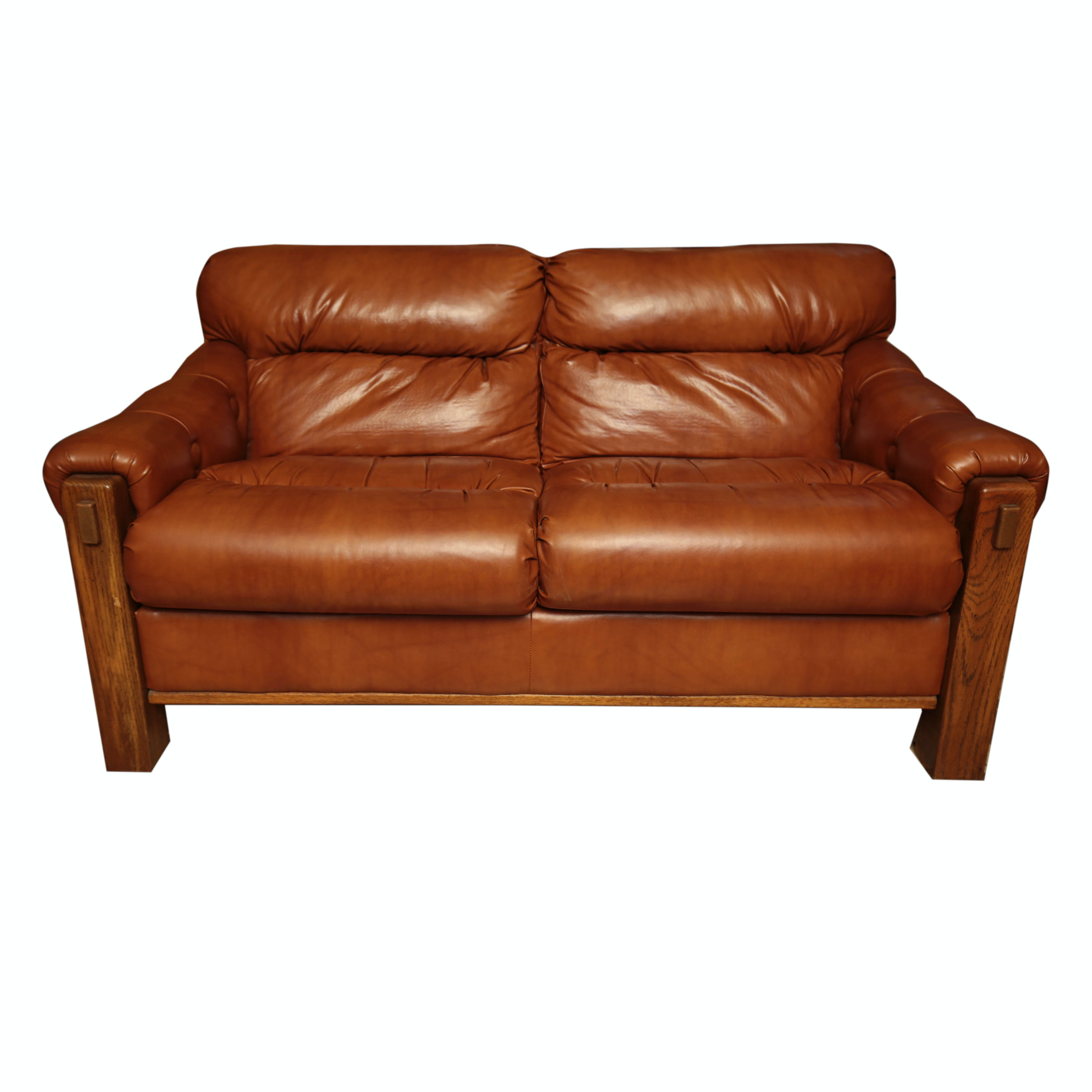 Leather and Oak Loveseat