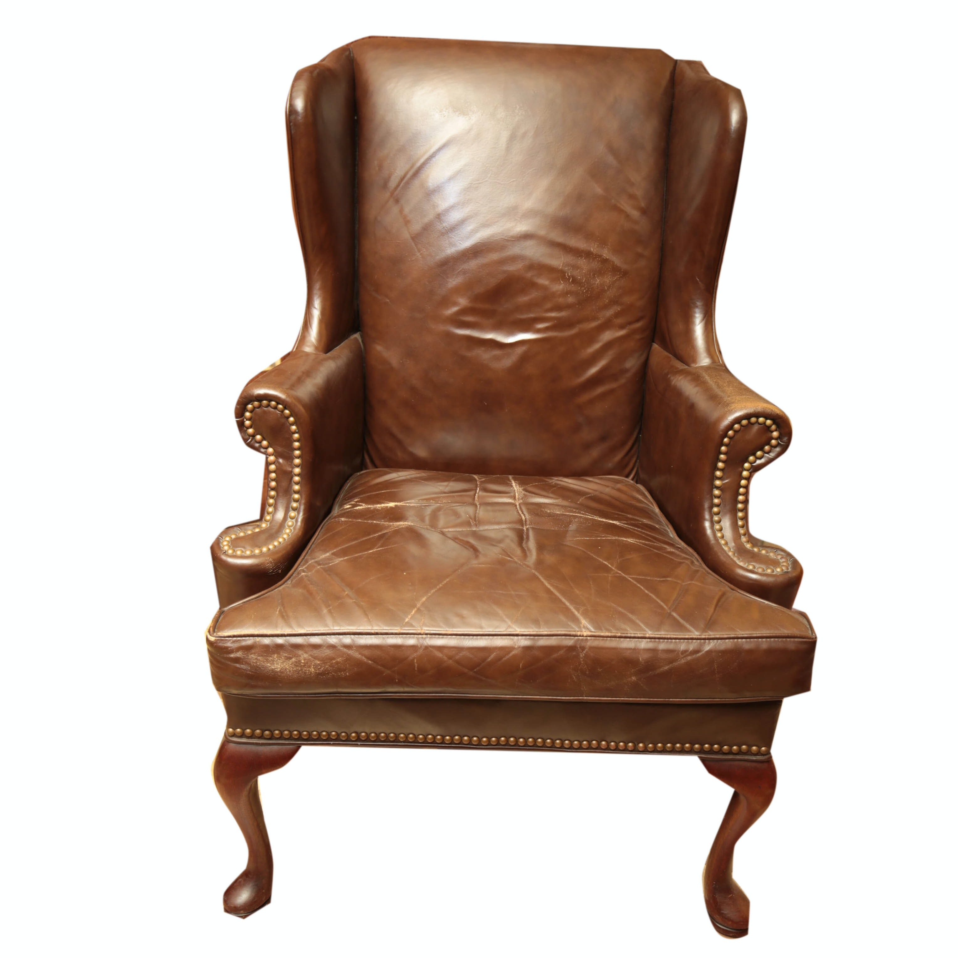 leather wingback chair by hickory chair company