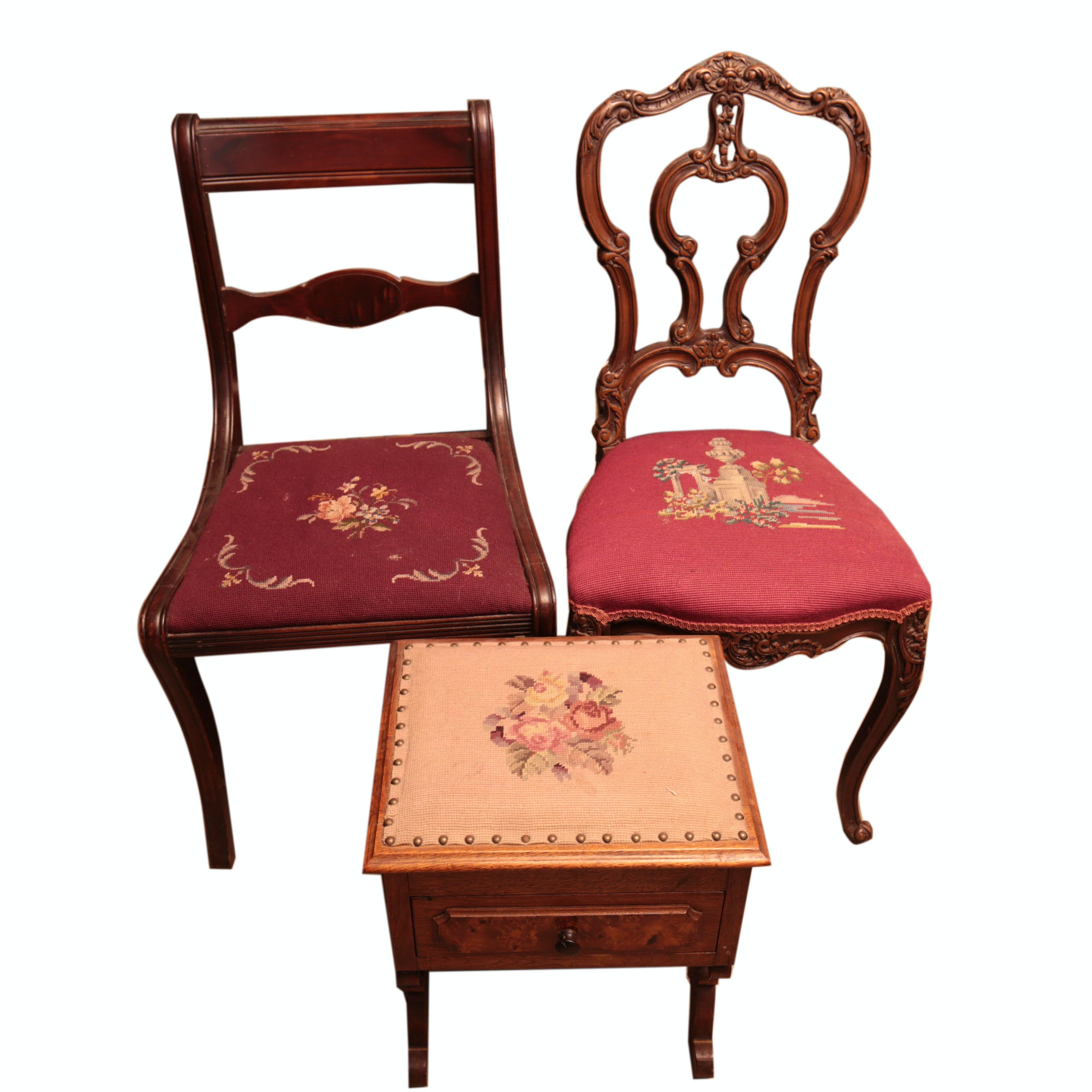 Pair of Needlepoint Chairs with Needlepoint End Table