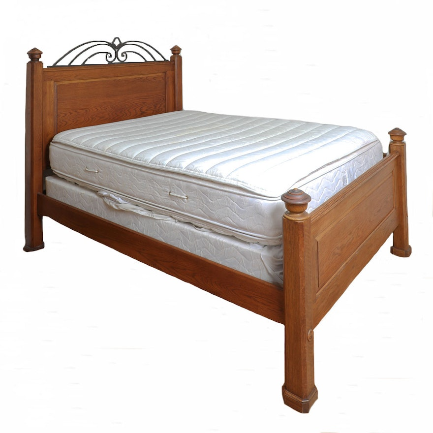 Queen Size Oak Bed Frame with Wrought Iron Detailing : EBTH