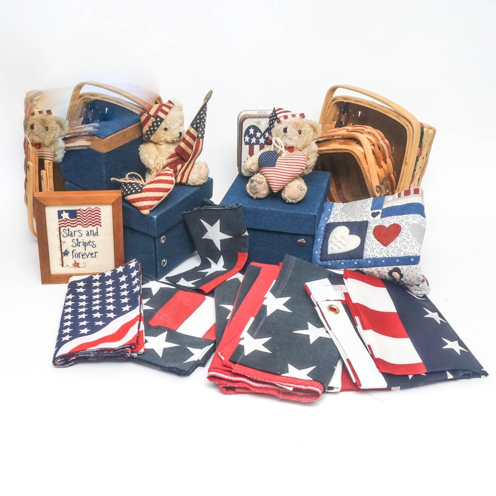 Assortment of Patriotic Themed Home Decor