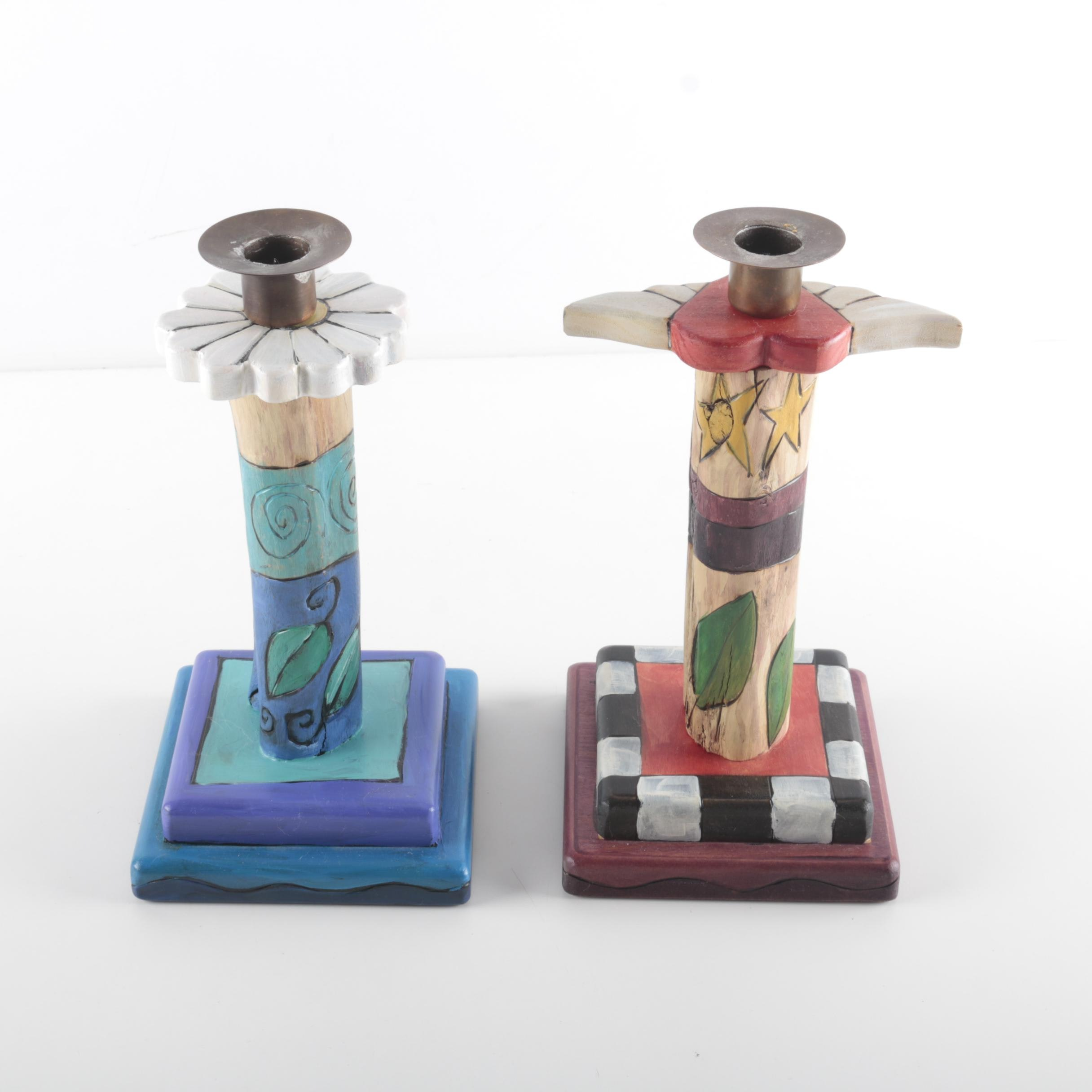 Pair of Hand Crafted Candlestick Holders