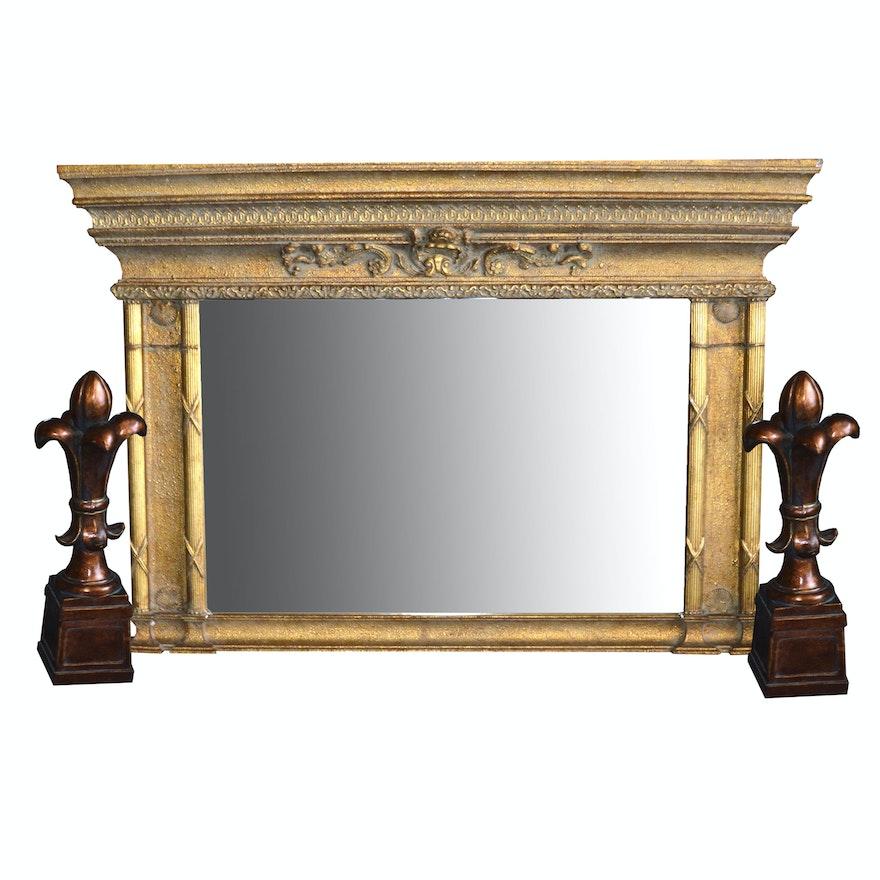 Gold Tone Mantel Wall Mirror And Pair Of Fleur De Lis Statue