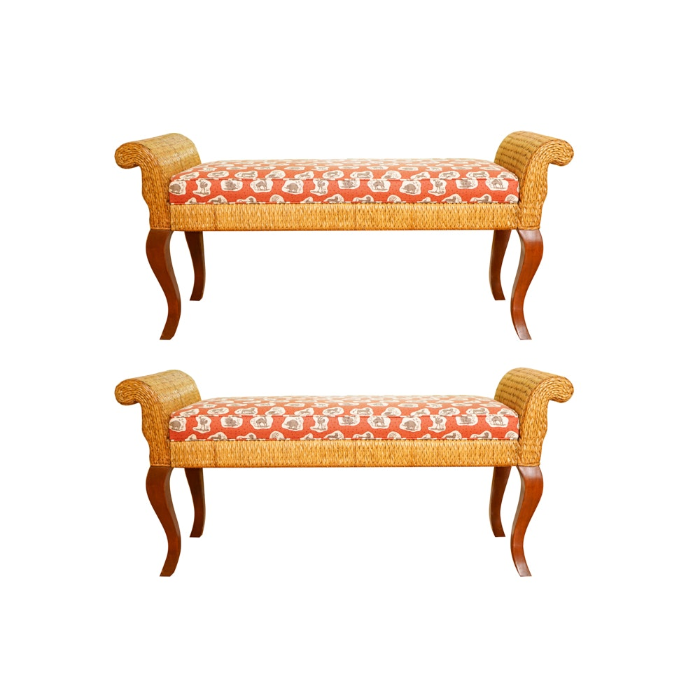 Pair of Queen Anne Style Benches by Palecek