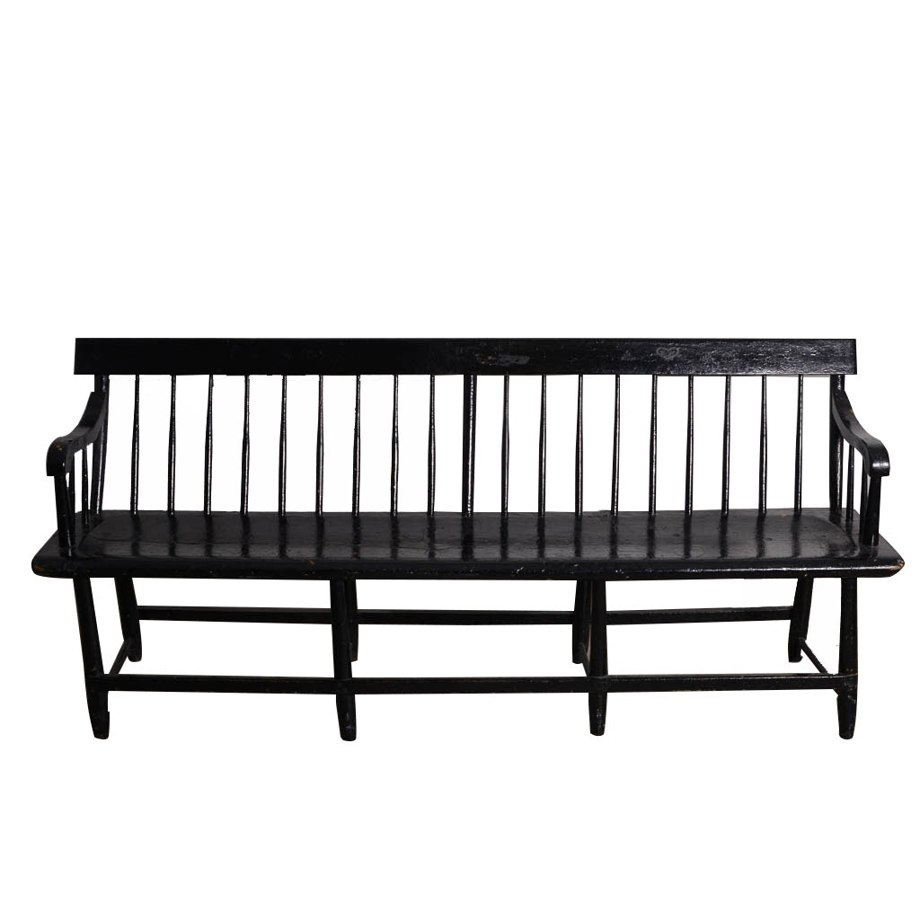 Vintage Black Lacquer Wood Bench