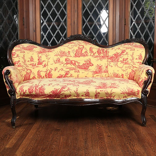 Victorian Style Toile Upholstered Settee