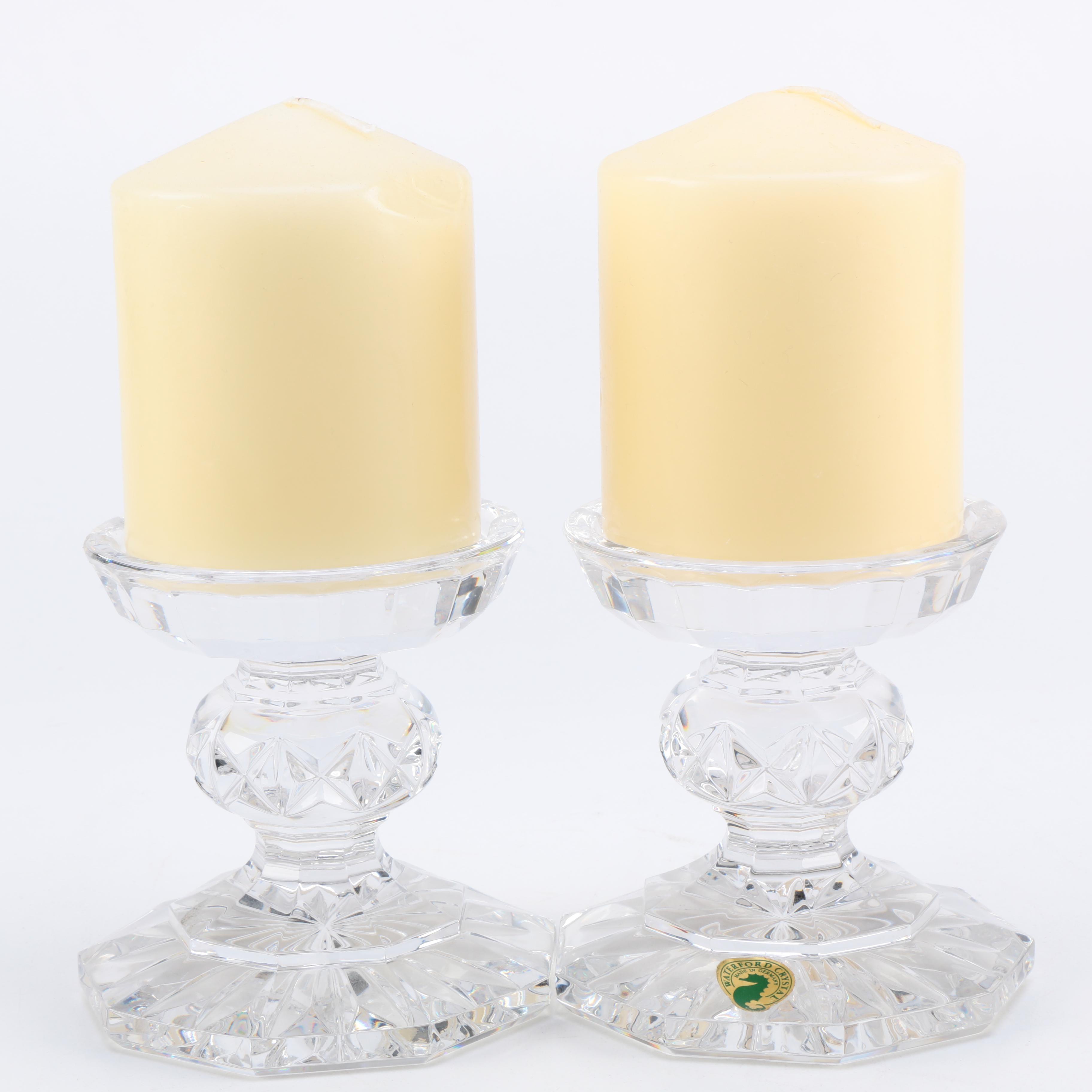 """Pair of Waterford Crystal """"Bedford"""" Pillar Holders"""
