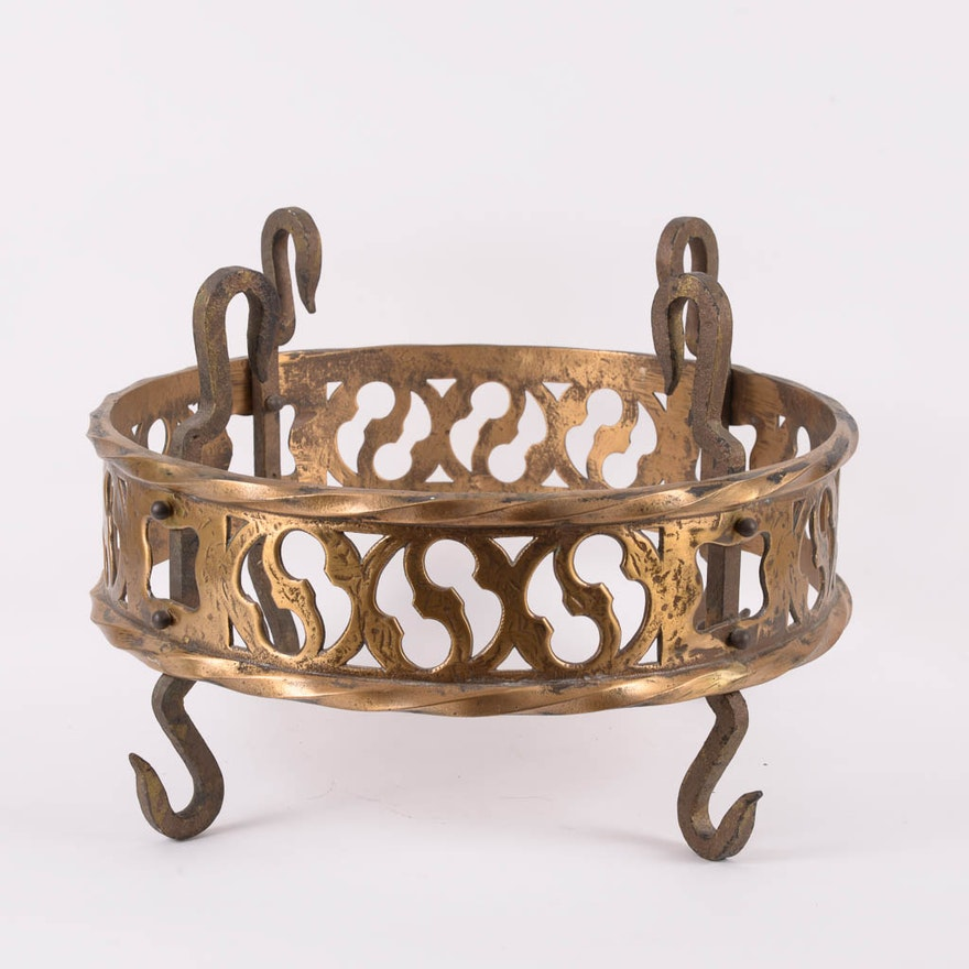 Antique French Brass Hanging Pot Rack   EBTH