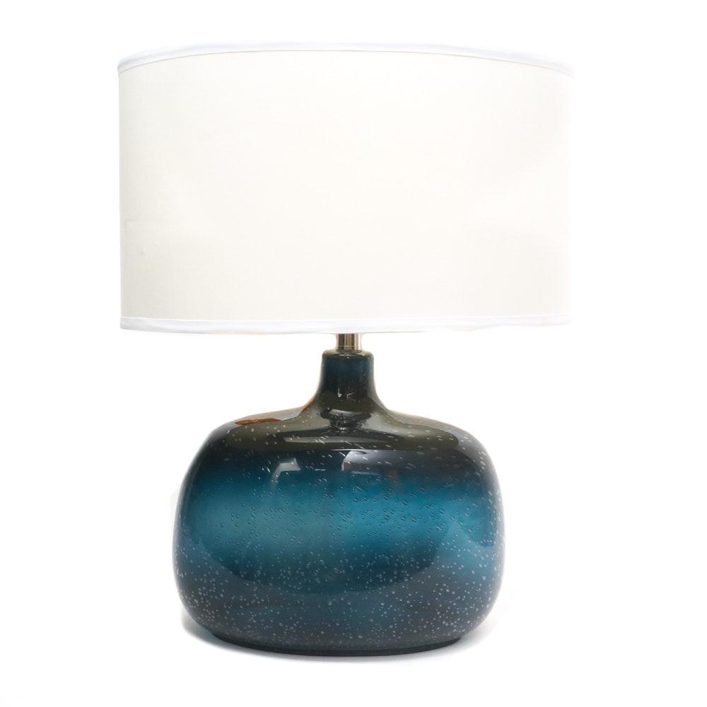 Dark Teal Bubble Glass Table Lamp Ebth