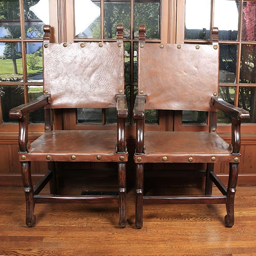 Pair of Leather Renaissance Style Armchairs